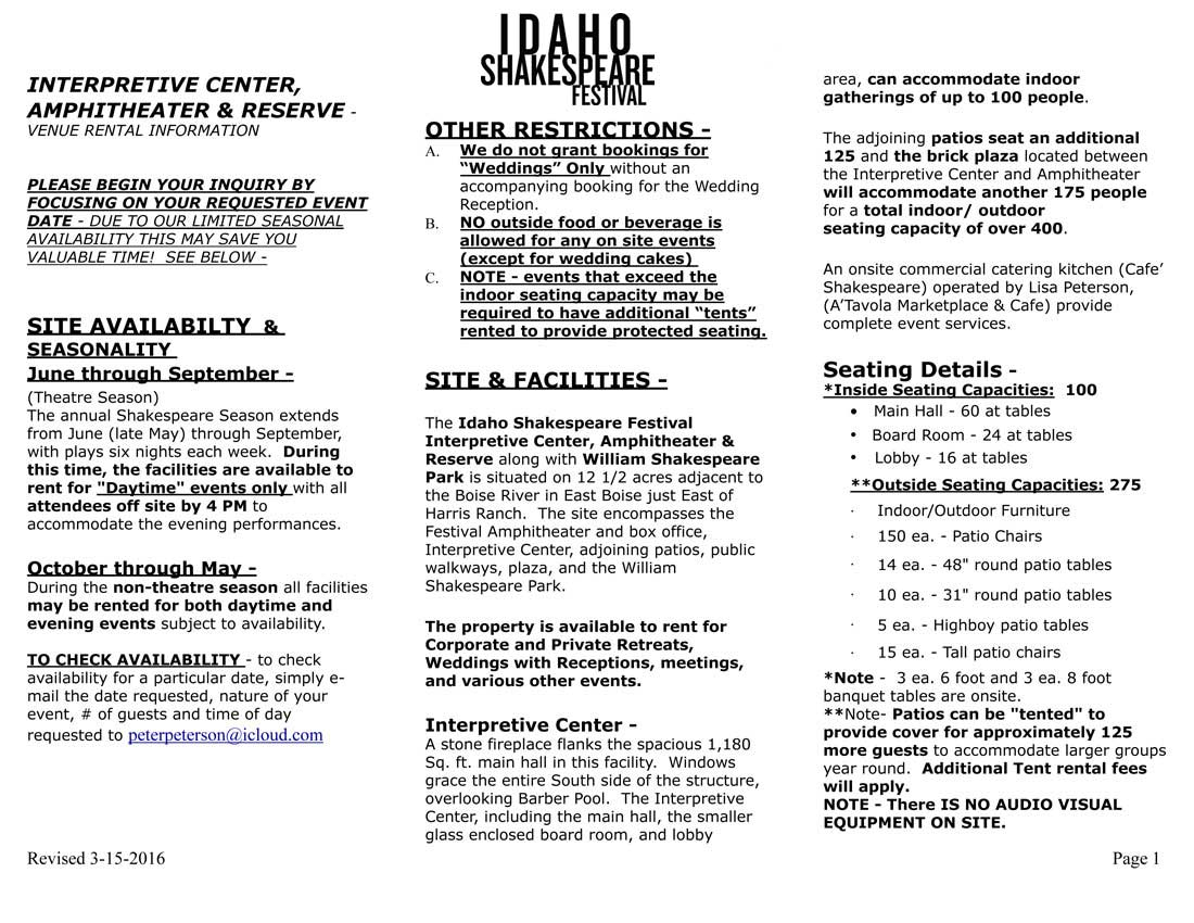 Idaho Shakespeare Festival Rental Information