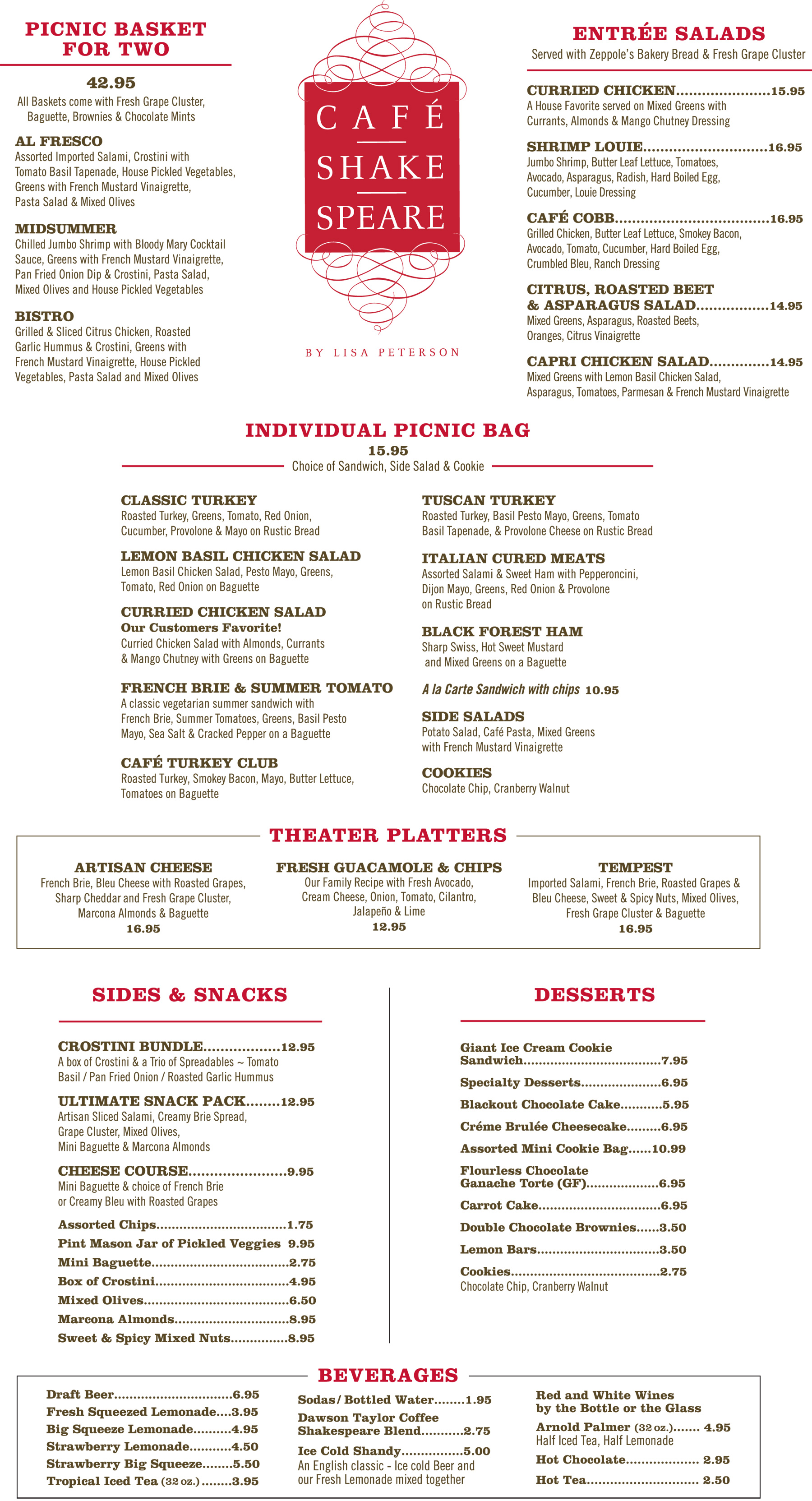 Cafe Shakespeare Menu